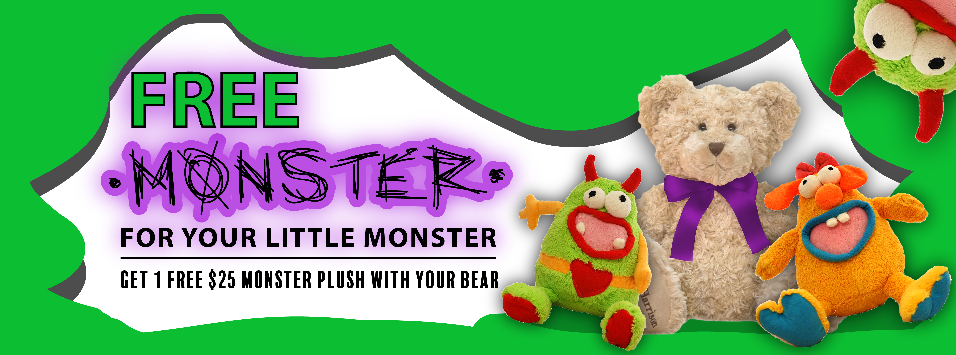 Get a FREE $25 monster plush this October when you order a Bear online