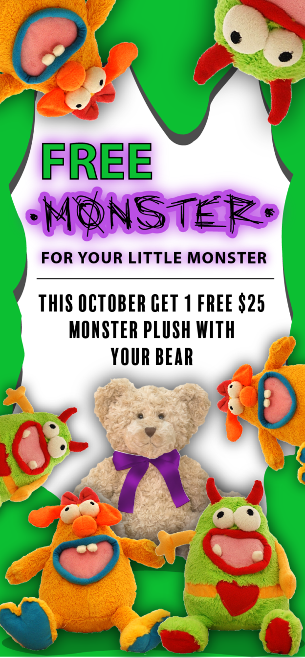 Free $25 monster plush with your online bear order between October 11th-31st